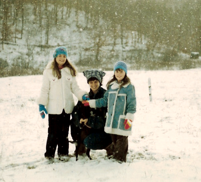 mom, me and becky in the snow