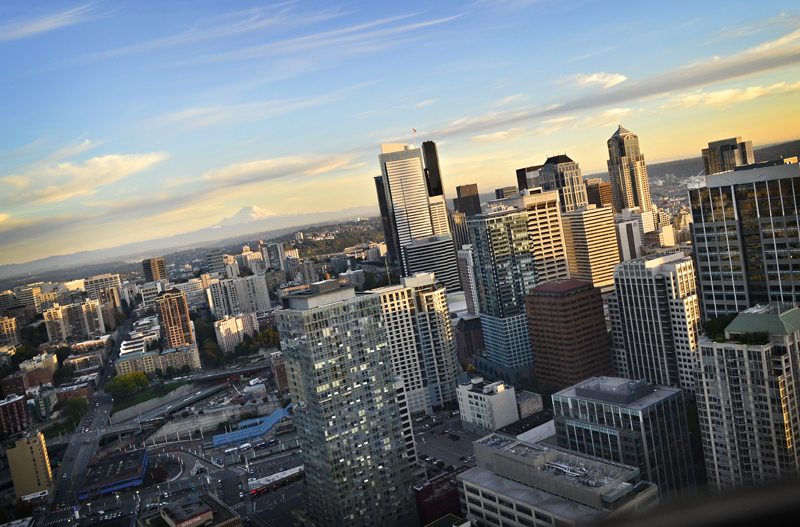 Cityscape and Mt. Rainier