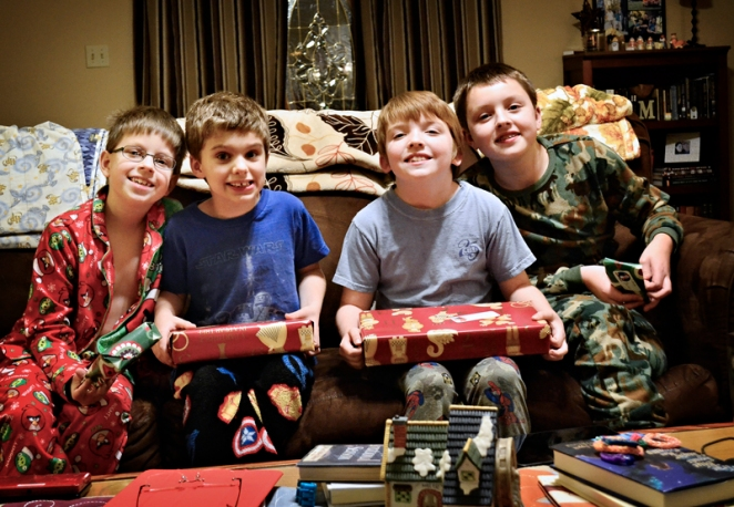 Four boys on Christmas Eve