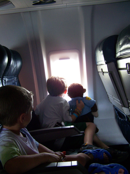 Jeremy and Two on the plane