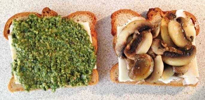 making the mushroom pesto sandwich