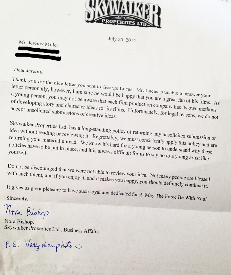 Let down by George Lucas: My son's first rejection letter